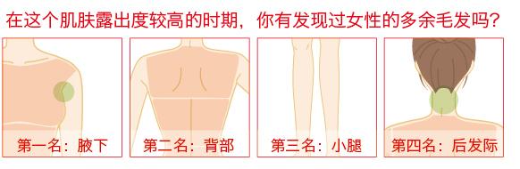 小腿/大腿/小臂/大臂/背部/后发际/腋下